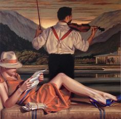 Peregrine Heathcote is an British painter*, known for working in contemporary academic realism style. Heathcote was born in London. For biographical notes -in english and italian- and other works by Heathcote see Peregrine Heathcote, 1973 Florence Academy Of Art, Art Deco Posters, Edward Hopper, Fashion Painting, London Art, Pulp Art, Retro Art, Naive, Top Artists