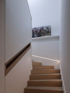 Light strip along staircase. I also like the skinny running shelves in stairway.: