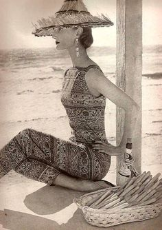 Evelyn Tripp - 1955- Harper's Bazaar. Fashion is full circle. Love this printed jumpsuit.