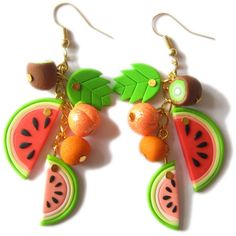Polymer Clay Food Earrings, Fruity Jewelry, Banana Earrings, Orange... ($24) ❤ liked on Polyvore featuring jewelry, earrings, orange jewelry, multicolor earrings, multi colored earrings, colorful jewelry and multi color earrings