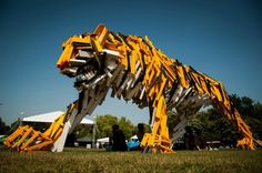 This giant timber tiger by Gabor Szoke leaped into life during the 'Hello Wood' art camp in Hungary. is made entirely from salvaged lumber!