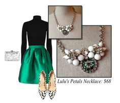 Emerald green and milk white assemblage bib necklace, paired with a black turtleneck, satin skirt, and snow leopard heels! #holidayoutfit #statementnecklace