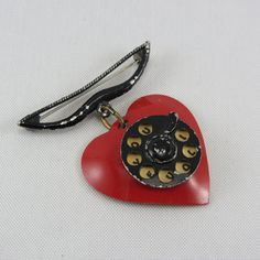 Vintage Celluloid Red Heart Valentine Pin, Bakelite Era Sweetheart Pin, Heart Phone I LOVE YOU Pin