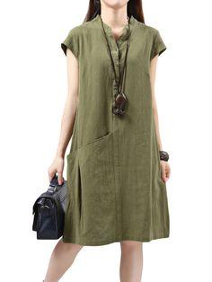 Casual Women Solid Short Sleeve Pocket A-Line Dress