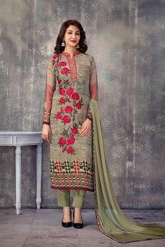 Grey Georgette Salwar Kameez Price - £81.00 OccasionFestival Wear, Casual Wear, Ceremonial ColorGreen, Grey FabricChiffon, Georgette, Santton DiscountNo WorkPrint, Embroidered, silk thread, Stone Time To Ship:10 to 12 working days #indian #fashion #trendy #stylish #fashionable #gorgeous #online #shopping #gorgeous #ethnic #pretty #design #designer #londonfashion #shopkund