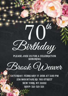 Birthday Invitation for women, Birthday Party, Any Age Women Birthday Floral String Lights Chalkboard Invite 1088 90th Birthday Invitations, 90th Birthday Parties, Birthday Ideas, Cake Birthday, Chalkboard Invitation, Invitation Ideas, Birthday Woman, Women Birthday, Etsy