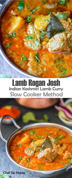 Indian Kashmiri Lamb Rogan Josh with Rice Slow Cooker Method | http://chefdehome.com