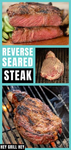 A perfect reverse seared steak on the grill is key to master for any backyard BBQ enthusiast. Reverse searing is a technique that will yield perfect steak results every time. Bbq Recipes Sides, Best Bbq Recipes, Easy Steak Recipes, Grilled Steak Recipes, Grilling Recipes, Delicious Recipes, Favorite Recipes, Grilled Beef Ribs, Bbq Beef Ribs