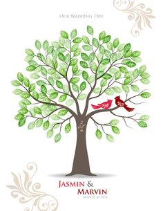 Stamp My Wedding Tree Guest book poster
