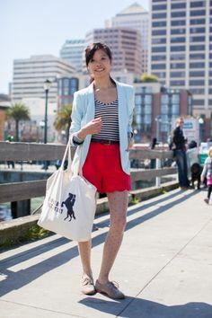 J.Crew shorts, Hinge blazer, American Apparel leotard, and Dolce Vita shoes.
