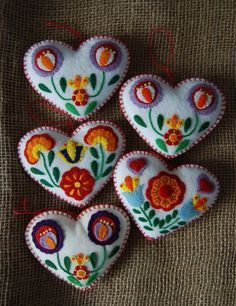 Lot 5 Handmade Scandanavian Applique Felt Heart Christmas Ornaments Folk Art