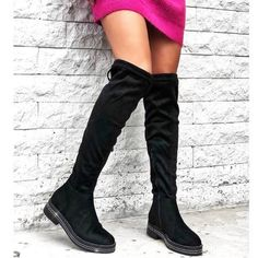 Over the knee strass μπότα Knee Boots, Shoes, Fashion, Rhinestones, Moda, Zapatos, Shoes Outlet, La Mode, Knee Boot