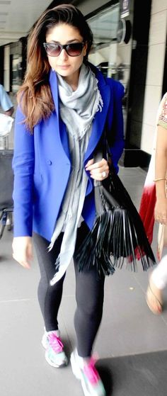 Kareena  kapoor style - team up your blazer with tights to save from the chill in flights.