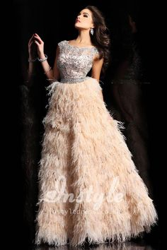 Stunning Fuchsia Boat Neck Prom Ball Gown with Fully Feathered Skirt and Cap Sleeves