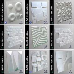kit 8 formas gesso 3d abs + 2 desmoldantes - eco18 Loft Design, House Design, Artificial Marble, 3d Wall Tiles, Front Elevation Designs, 3d Wall Panels, Design System, Marble Stones, Kit