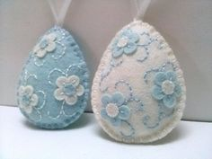 Felt easter decoration - white baby snow blue felt eggs with flowers / set of 2 decorated eggs - choice of designs