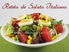 #Reteta de salata italiana - o #salata plina de vitamine, pregatita rapid si usor din ingrediente slab calorice si un dressing aromat. Caprese Salad, Fruit Salad, Cobb Salad, Healthy Salad Recipes, Baby Food Recipes, Potato Salad, Stuffed Peppers, Ethnic Recipes, Salads