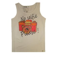 So Twee by Miss Grant Girls White Vest Top With Diamante Camera Print