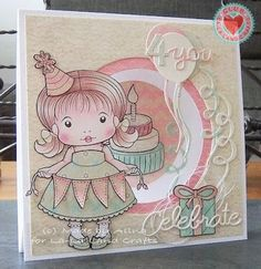Card by Alina Meijer-Petrescu featuring Club La-La Land Crafts (May 2015) exclusive Celebrate You Marci, Time to Celebrate Stamp Set and these Dies - Balloons Dies (Set of 3), Celebrate You words Die, Numbers Dies and Fancy Label Die :-)   Club La-La Land Crafts subscription details are here - http://lalalandcrafts.com/Club_La-La_Land_Crafts.html    Coloring details and more Design Team inspiration here - http://lalalandcrafts.blogspot.ie/2015/05/club-la-la-land-crafts-may-2015.html
