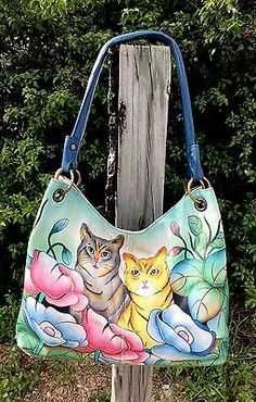 Anuschka Shopper Bag Tote Hobo CAT LOVERS SPECIAL Must See!