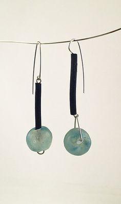 Seaside Blue Earrings: Dagmara Costello: Rubber & Stone Earrings - Artful Home