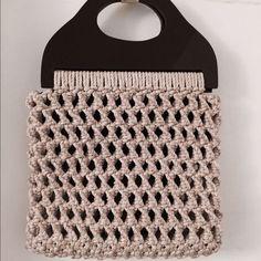 💥3 pcs. Bundle -  $12.00 Vintage crochet hand bag Almond milk in color, very handy, medium size. Dark brown plastic handle. Lined with soft velvety lining.smoke odor free😄 no pocket. Bags