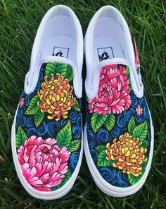 Floral Handpainted Canvas Shoes with Peonies and Chrysanthemums (Vans, Converse, Toms, Keds) Source by etsy shoes ideas Custom Vans Shoes, Mens Vans Shoes, Custom Painted Shoes, Painted Vans, Painted Canvas Shoes, Painted Sneakers, Painted Clothes, Hand Painted Shoes, Vans Men