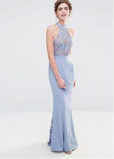 Charming Lace & Chiffon Halter Neckline Sheath Bridesmaid Dresses