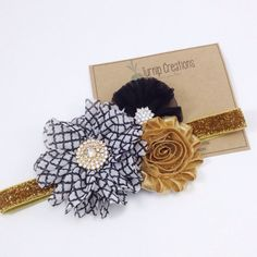 Gold Headband Black Headband Flower Girl Headband Chiffon Ballerina Flower Headband Metallic Couture Headband M2M Photo Prop