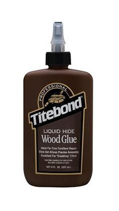 """Franklin International Titebond Liquid Hide Glue, 8-Ounces #5013 by Franklin. $7.79. From the Manufacturer                Titebond Liquid Hide Wood Glue.  The first hide glue to be offered in a liquid, ready-to-use form - requires no heating or mixing.  Professional woodworkers use this formula for its exceptional strength, long open assembly time, excellent sandability and superior creep resistance.  Craft hobbyists utilize Titebond Liquid Hide Wood Glue as a """"crac..."""