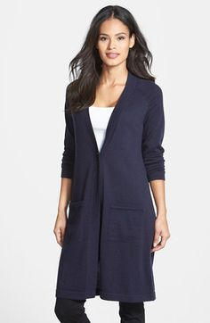 Eileen Fisher Long Merino Wool Cardigan in Midnight.