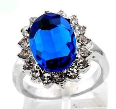 ** Blue Sapphire Princess Diana Engagement Ring Size 6 1/2 **