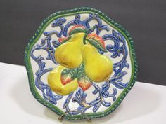 """FITZ FLOYD Classics Florentine Canape Fruit Pears Wall Lunch Plate 9"""" Retired Pears, Plate Sets, Serving Bowls, Lunch, Fruit, Classic, Tableware, Wall, Food"""