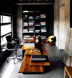 sleek wood desk, modern office
