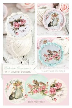 How to make Victorian Ornaments with a crochet border plus free printable ornaments from Shabby Art Boutique My Journal, Art Journal Pages, Double Crochet, Single Crochet, I Love Grannies, Crochet Borders, Blanket Stitch, Homemade Cards, Holiday Crafts