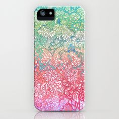 """Soft Pastel Rainbow Doodle"" Phone Case by Micklyn on Society6."