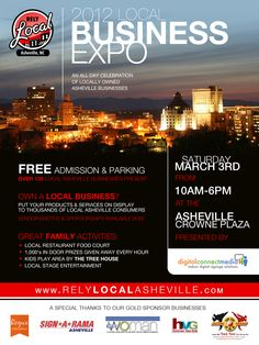project: flyer for print + social media promo for rely local asheville | 2012 local business expo | february 2012