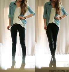 jean shirt, loose white tee, leather skinnies