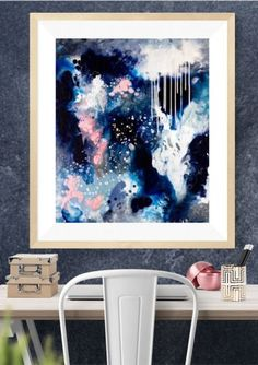 Abstract art print in moody blues, indigo and soft pink by Australian artist Kate Fisher.