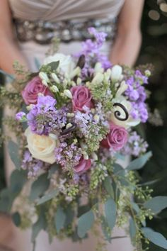 Lilac Rose Seeded Eucalyptus Bouquet - My favourite wedding colour scheme.  Add a few grape clusters to the centrepieces and you have the perfect wine country wedding theme!