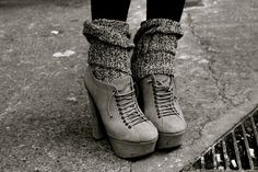love grey shoes and grey leg warmers! adore