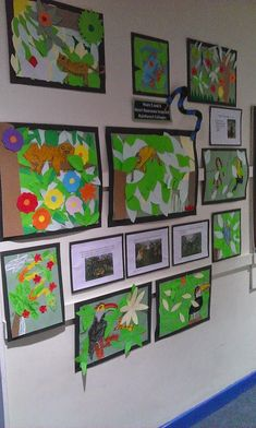 Primaryart123: Henri Rousseau - Rainforest Collages The Great Kapok Tree cross curricular lesson in primary overlay collage techniques with oil pastel rainforest animals. Great lesson for teaching about composition and focal points
