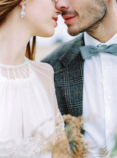 Grey and blue seaside wedding inspiration. Wedding dress Zetterberg Collection.