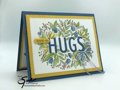 Sending You A Hug, Flowers Nature, Card Tags, Petunias, Stampin Up Cards, Blue Yellow, Thursday, Paper Crafts, Happy