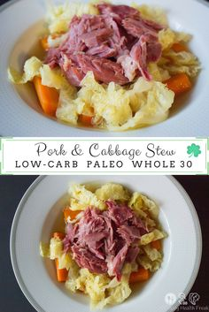 An easy, delicious slow-cooked Pork and Cabbage Stew that is perfect for St. Recipes Using Ham, Ham Hock Recipes, Pork Recipes, Crockpot Recipes, Crockpot Dishes, Diabetic Recipes, Ham And Cabbage Soup, Cabbage Soup Recipes, Saint Patrick