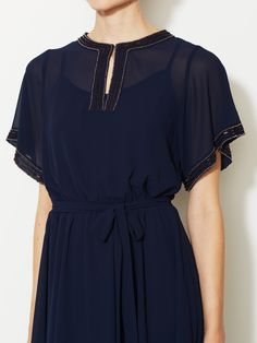 Beaded Chiffon Tie-Waist Dress by Avaleigh at Gilt