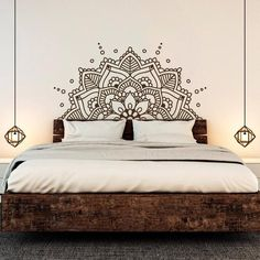 Mandala Art Vinyl Wall Stickers Yoga Boho Removeable Decal Headboard Bedroom Decoration home decor ideas Headboard Decal, Wall Decals For Bedroom, Bedroom Decor, Master Bedroom, Bedroom Headboards, Ikea Bedroom, Bedroom Ideas, Bedroom Inspiration, Painted Headboards