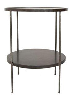 "LOFThome.com Rivoli Side Table. 25""w x 25""d x 30"". Iron with Stone Shelves"