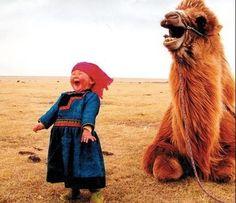 little girl, camel, JOY!