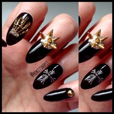 Halloween nails mixed metal black nails
